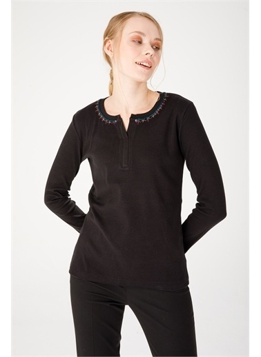 Desen Triko Tişört Siyah
